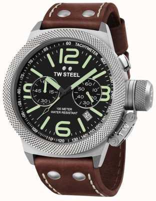 TW Steel 男士食堂50毫米chrono棕色皮革表带 CS24