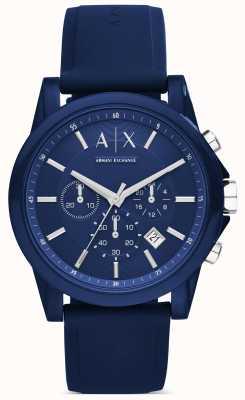 Armani Exchange 计时蓝色硅胶 AX1327