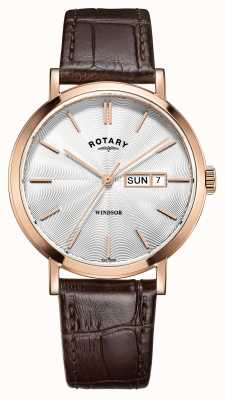 Rotary 男士棕色皮革表带镀玫瑰金 GS05304/02