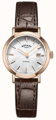 Rotary 女式棕色真皮表带银色表盘 LS05304/02