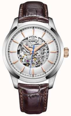 Rotary 男士银色表盘棕色皮革表带 GS05032/06