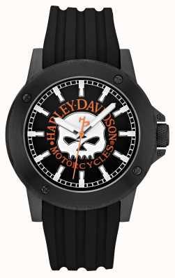 Harley Davidson 男士真皮黑色表带黑色表盘 78A115