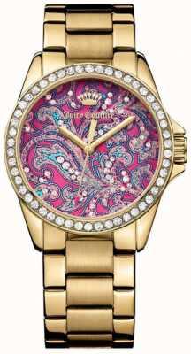 Juicy Couture 女式金色金属表带粉色图案表盘 1901424