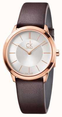 Calvin Klein 男士最小银色表盘玫瑰金表壳 K3M226G6