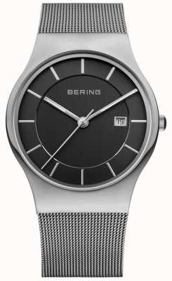 Bering 男士黑色表盘银色表带日期窗口 11938-002