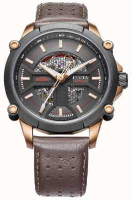 FIYTA 男士棕色真皮表带黑色表盘 WGA866001.MBR