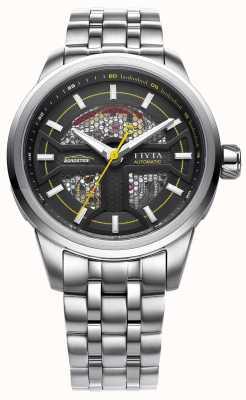 FIYTA 男士不锈钢表带黑色表盘 GA866003.WBW
