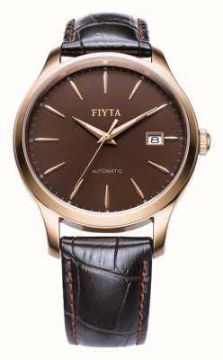 FIYTA 男士棕色皮表带玫瑰金表壳 WGA1010.PSR