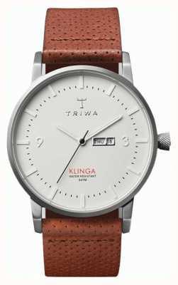 Triwa 中性klinga棕色皮革表带白色表盘 KLST101-CD010212