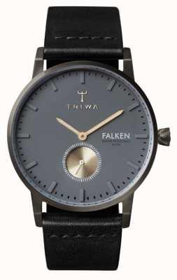 Triwa 男士黑色皮革表带灰色表盘 FAST102-CL010113