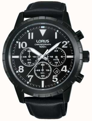 Lorus 男士黑色计时码表黑色皮革表带 RT365FX9