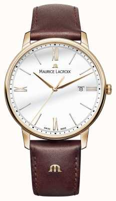 Maurice Lacroix 男士白色圆形表盘棕色皮革表带 EL1118-PVP01-112-1