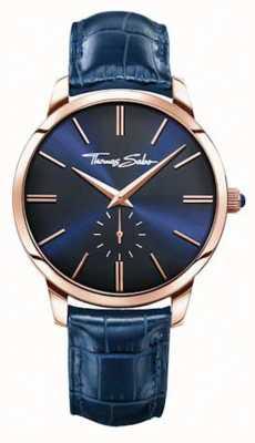 Thomas Sabo 男士蓝色皮革表带蓝色表盘 WA0212-270-209-42