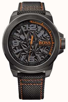 Hugo Boss Orange 男士黑色镀银表带灰色图案表盘 1513343