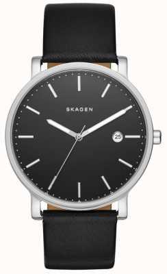 Skagen 男士哈根黑色真皮表带手表 SKW6294