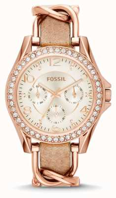 Fossil 女人白色计时码表盘棕色皮革表带 ES3466