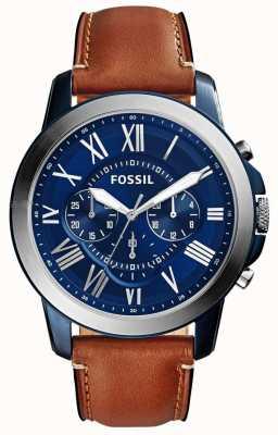 Fossil 男士蓝色计时表盘棕色皮革表带 FS5151