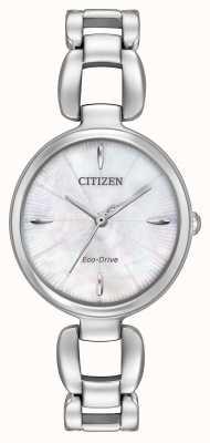 Citizen 女式不锈钢表链珍珠贝母表盘 EM0420-54D