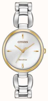 Citizen 女式双色不锈钢手链 EM0424-53A