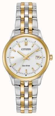 Citizen 女士双色不锈钢表链白色表盘 EW2404-57A