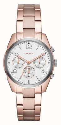 DKNY 女人玫瑰金镀金属表带白色计时表盘 NY2472