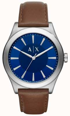 Armani Exchange 男士棕色真皮表带蓝色表盘不锈钢表壳 AX2324