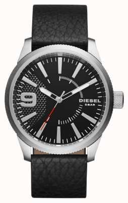 Diesel 男士黑色真皮表带黑色表盘银色表壳 DZ1766