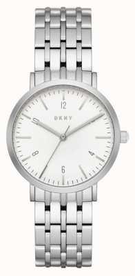 DKNY 女士不锈钢银色网眼表带圆形白色表盘 NY2502