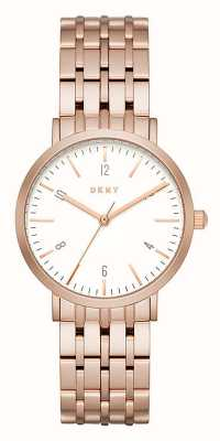 DKNY 女人玫瑰金不锈钢网状表带圆形白色表盘 NY2504