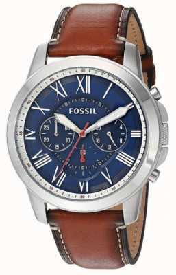 Fossil 男士棕色真皮表带蓝色表盘不锈钢表壳 FS5210