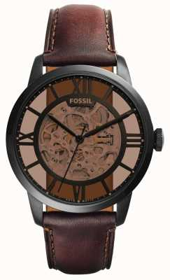 Fossil 男士深棕色皮革表带圆形棕色表盘 ME3098