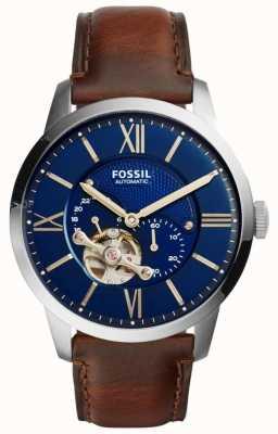 Fossil 男士自动棕色皮表带圆形蓝色表盘 ME3110