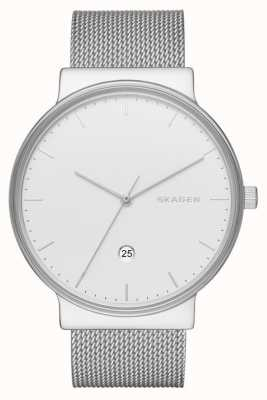 Skagen 男士不锈钢银色网状表带圆形表盘 SKW6290