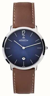 Michel Herbelin 男士ikone grande棕色真皮表带蓝色表盘 19515/15