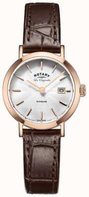 Rotary 女装les originales windsor棕色皮革表带 LS90157/02