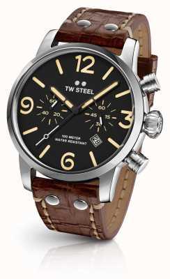 TW Steel 男士特立独行的计时码表棕色真皮表带黑色表盘 MS3