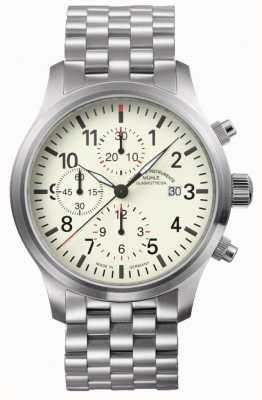 Muhle Glashutte Terrasport i计时码表不锈钢表带奶油色表盘 M1-37-77-MB