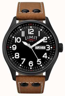 Limit 男士棕色真皮表带黑色表盘 5492.01