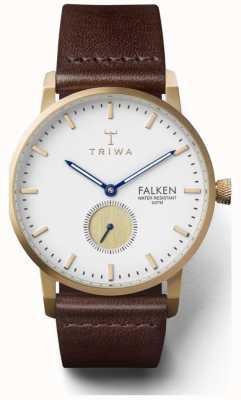 Triwa 男士雪佛肯棕色真皮表带白色表盘 FAST110-CL010413