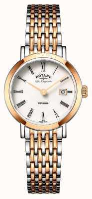 Rotary 女士windsor双色银色玫瑰金金属表带 LB90155/01