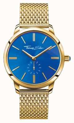 Thomas Sabo 女人魅力精钢不锈钢金色网眼表带蓝色表盘 WA0274-264-209-33