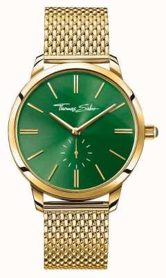 Thomas Sabo 女人华丽精钢钢金网带绿色表盘 WA0275-264-211-33