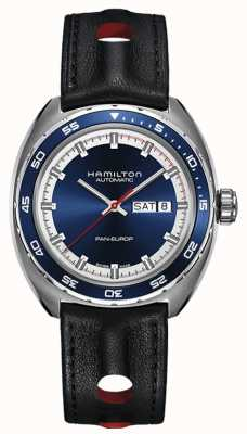 Hamilton 男士泛欧式黑色皮革表带蓝色表盘 H35405741