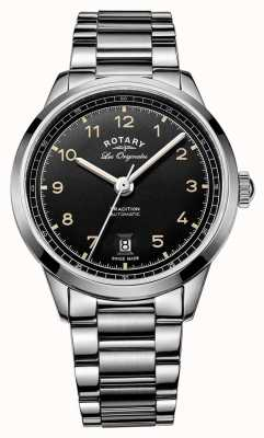 Rotary 男士传统自动不锈钢表链黑色表盘 GB90184/19