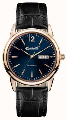 Ingersoll 男士1892年新款黑色皮革表带蓝色表盘 I00504