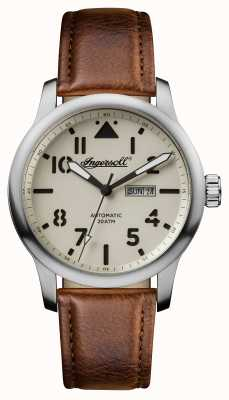 Ingersoll 男装发现哈顿棕色皮革表带白色表盘 I01301