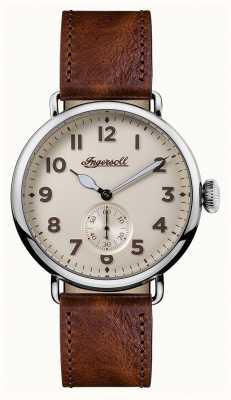 Ingersoll 男士编年史特伦棕色皮革表带奶油表盘 I03301