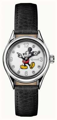 Disney By Ingersoll 女装工会迪士尼黑色皮革白色表盘 ID00902