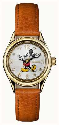 Disney By Ingersoll 女装工会迪士尼棕色真皮表带银色表盘 ID00901