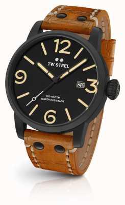 TW Steel 男士特立独行黑色三明治表盘棕褐色皮革表带45毫米 MS31